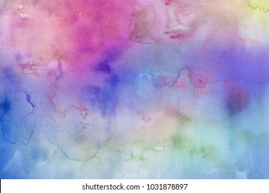 Colorful bright ink and watercolor textures on white paper background. Paint leaks and ombre effects.
