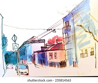 Colorful bright marker perspective street sketch of old Moscow area with road, car, trolley ways and trees
