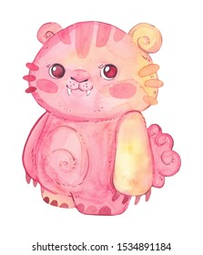Colorful, bright pink monster isolated on a white background. Watercolor kids cartoon illustration. Hand drawn character.