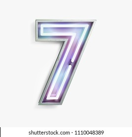 Colorful Bright Vivid Neon Font with Fluorescent Tubes. Number 7. Night Show Alphabet. 3d Rendering Isolated on White background.