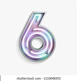 Colorful Bright Vivid Neon Font with Fluorescent Tubes. Number 6. Night Show Alphabet. 3d Rendering Isolated on White background.