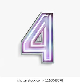 Colorful Bright Vivid Neon Font with Fluorescent Tubes. Number 4. Night Show Alphabet. 3d Rendering Isolated on White background.