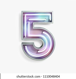 Colorful Bright Vivid Neon Font with Fluorescent Tubes. Number 5. Night Show Alphabet. 3d Rendering Isolated on White background.