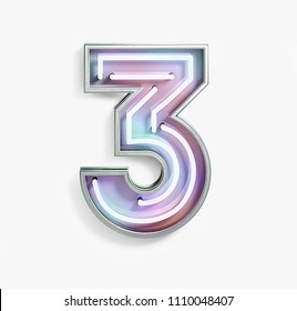 Colorful Bright Vivid Neon Font with Fluorescent Tubes. Number 3. Night Show Alphabet. 3d Rendering Isolated on White background.