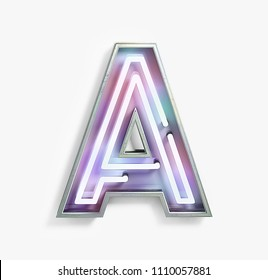 Colorful Bright Vivid Neon Font with fluorescent tubes. Letter A. Night Show Alphabet. 3d Rendering Isolated on White Background.