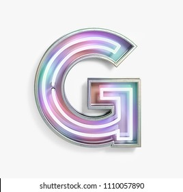 Colorful Bright Vivid Neon Font with fluorescent tubes. Letter G. Night Show Alphabet. 3d Rendering Isolated on White Background.