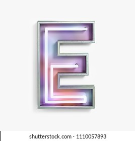 Colorful Bright Vivid Neon Font with fluorescent tubes. Letter E. Night Show Alphabet. 3d Rendering Isolated on White Background.