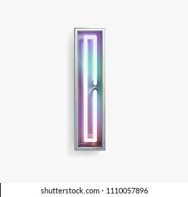 Colorful Bright Vivid Neon Font with fluorescent tubes. Letter I. Night Show Alphabet. 3d Rendering Isolated on White Background.