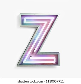 Colorful Bright Vivid Neon Font with fluorescent tubes. Letter Z. Night Show Alphabet. 3d Rendering Isolated on White Background.