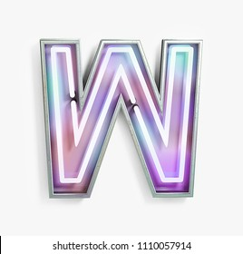 Colorful Bright Vivid Neon Font with fluorescent tubes. Letter W. Night Show Alphabet. 3d Rendering Isolated on White Background.