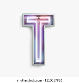 Colorful Bright Vivid Neon Font with fluorescent tubes. Letter T. Night Show Alphabet. 3d Rendering Isolated on White Background.