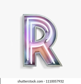 Colorful Bright Vivid Neon Font with fluorescent tubes. Letter R. Night Show Alphabet. 3d Rendering Isolated on White Background.