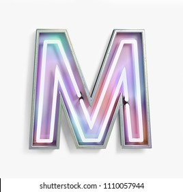 Colorful Bright Vivid Neon Font with fluorescent tubes. Letter M. Night Show Alphabet. 3d Rendering Isolated on White Background.