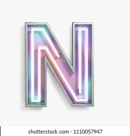 Colorful Bright Vivid Neon Font with fluorescent tubes. Letter N. Night Show Alphabet. 3d Rendering Isolated on White Background.