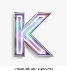 Colorful Bright Vivid Neon Font with fluorescent tubes. Letter K. Night Show Alphabet. 3d Rendering Isolated on White Background.