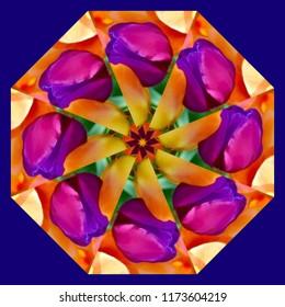 Colorful, bright, yellow, blue, pink, orange mandala with geometric spiral pattern on blue background. Decorative element, ethnic design, web design, anti-stress therapy, meditation.