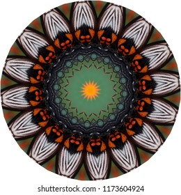 Colorful, brown, white, green, orange mandala with floral pattern on white background. Decorative element, ethnic design, web design, anti-stress therapy, meditation.