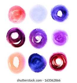 Colorful brush stroke in the form of a circle. Drawing created in a sketch handmade technique. Isolated shapes on white background.