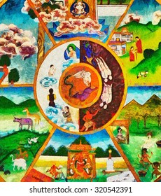 Colorful Buddhist thanka wheel of life oil painting