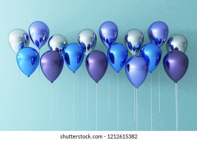 Colorful Bunch of Birthday Balloons Flying for Party and Celebrations With Space for Message Isolated in Blue Background. 3D render for birthday, party,