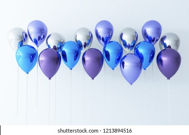 Colorful Bunch of Birthday Balloons Flying for Party and Celebrations With Space for Message Isolated in White Background. 3D render for birthday, party,
