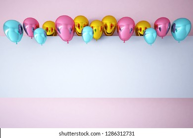 Colorful Bunch of Birthday Balloons Flying for Party and Celebrations With Space for Message Isolated in Pink Background. 3D render for birthday, party,