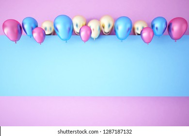Colorful Bunch of Birthday Balloons Flying for Party and Celebrations With Space for Message Isolated in Blue Background. 3D render for birthday, party