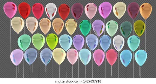 Colorful Bunch of Birthday Balloons illustration, 3D rendering.(Tiff file with layer masks).Tiff file with transparent background.
