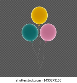 Colorful Bunch of Birthday Balloons illustration, 3D rendering.Tiff file with transparent background. (Tiff file with layer masks)