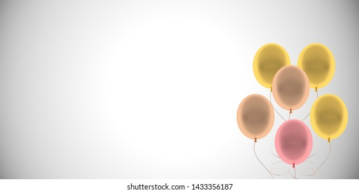 Colorful Bunch of Birthday Balloons illustration, 3D rendering.Tiff file with transparent background.