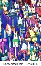 Colorful Buoys - A wall full of colorful lobster buoys on Mount Desert Island in Maine
