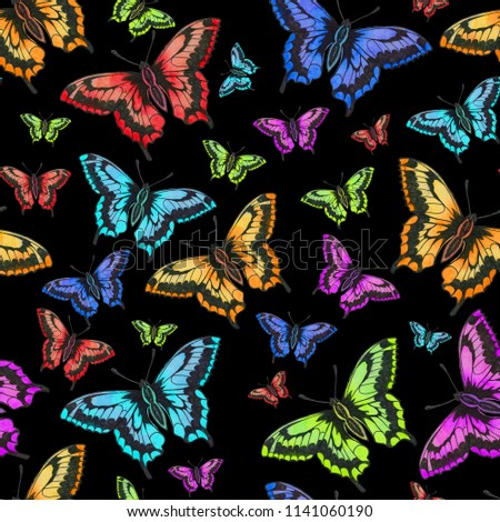 Colorful Butterflies Open Wings Flying Insects Stock Illustration