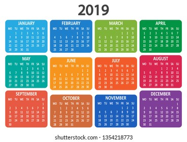 Colorful calendar 2019. Week starts from Monday. Illustration