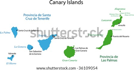 Colorful Canary Islands Map Provinces Main Stockillustration ... on