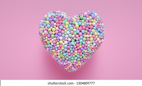 A Lot Of Colorful Candy Balls In The Form Of Heart Isolated On The Pink Background - Valentine's Day - 3D Illustration
