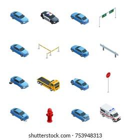 Colorful car accidents isometric icons set with evacuator police ambulance and road sign isolated on white background  illustration