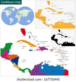 Colorful Caribbean Map Countries Capital Cities Stock Illustration ...
