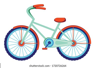 Colorful cartoon bicycle, simple design illustration on white background.