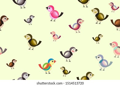 Colorful cartoon birds on pale yellow background, seamless pattern. Great for fabric, textile, wrap paper, wallpaper.