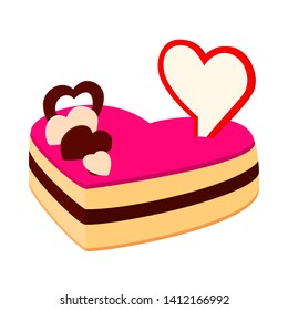 Colorful cartoon heart cake. Sweet treat for wedding date. St. Valentine day themed illustration for icon, stamp, label, badge, certificate, gift card, poster or banner decoration
