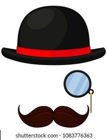 Colorful cartoon hipster avatar element set. Bowler hat, monocle and mustache. Fashion illustration for gift card certificate sticker, badge, sign, stamp, logo, label, icon, poster, patch, banner