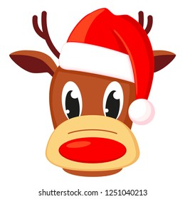 Colorful cartoon reindeer head in hat. Funny mascot holiday character. Christmas themed illustration for icon, logo, stamp, label, badge, certificate or gift card decoration