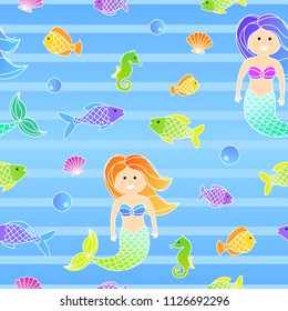 Colorful cartoon seamless sea pattern for children with mermaid and fishes