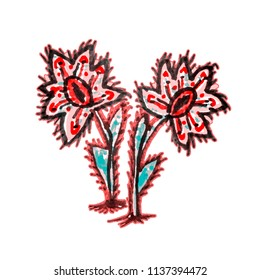Colorful cartoon style pencil darwing technique flowers in red and blue colors isolated on white background