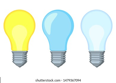 Colorful cartoon warm and cold light bulb set. On and off incandescent lamp. Electricity themed illustration for icon, label, certificate, brochure, gift card, poster, coupon, banner decoration