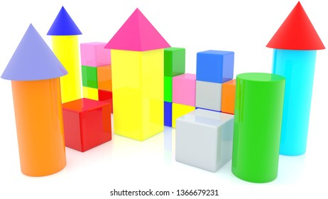 Colorful Castle of toy cubes with tower.3d illustration