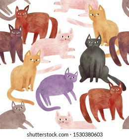 Colorful cats - seamless pattern. Hand drawn illustration