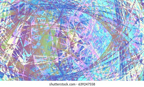 Colorful Chaotic Geometry Line Array Medium Contrast