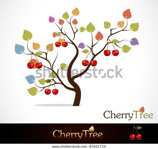 Colorful cherry tree