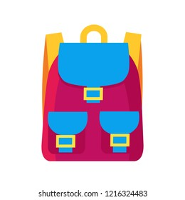 Colorful childish pink rucksack with golden clasps, yellow straps and blue pockets.  illustration of bag isolated on white background